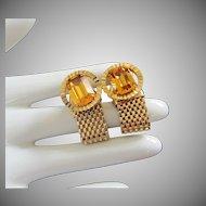 Vintage Topaz Rhinestone and Gold Mesh Cufflinks