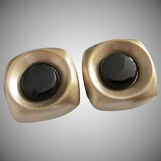 Vintage Hickok Black Glass and Matte Gold Tone Cufflinks ~ REDUCED!