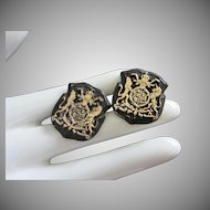 Vintage Japanned Heraldic Shield, Crest Cufflinks ~ REDUCED!