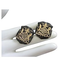 Vintage Japanned Heraldic Shield, Crest Cufflinks ~ REDUCED!