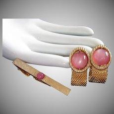 Swank Pink Lucite Cufflinks and Tie Clip Vintage Set