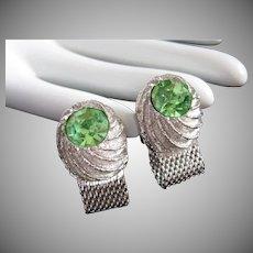 Swank Peridot Rhinestones Silver Tone Vintage Cufflinks