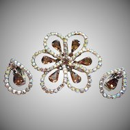 Topaz and AB Rhinestone Brooch Pin and Earrings Set ~ REDUCED!