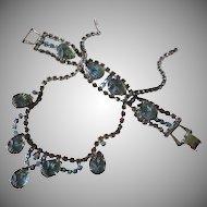Molded Glass Flowers and Smokey AB Rhinestone Necklace Bracelet Set