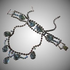 Smokey and AB Rhinestone Necklace and Bracelet Set of Molded Blue Glass Flowers