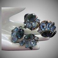 D&E Juliana Blue Rhinestone Clamper Bracelet and Earrings Set ~  Over 1/2 OFF!