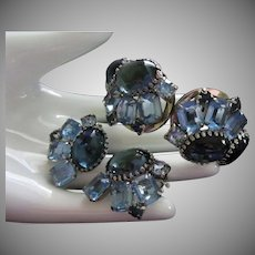 D&E Juliana Sapphire Blue Rhinestone Clamper Bracelet and Earrings Set ~ REDUCED ~ 1/2 OFF!