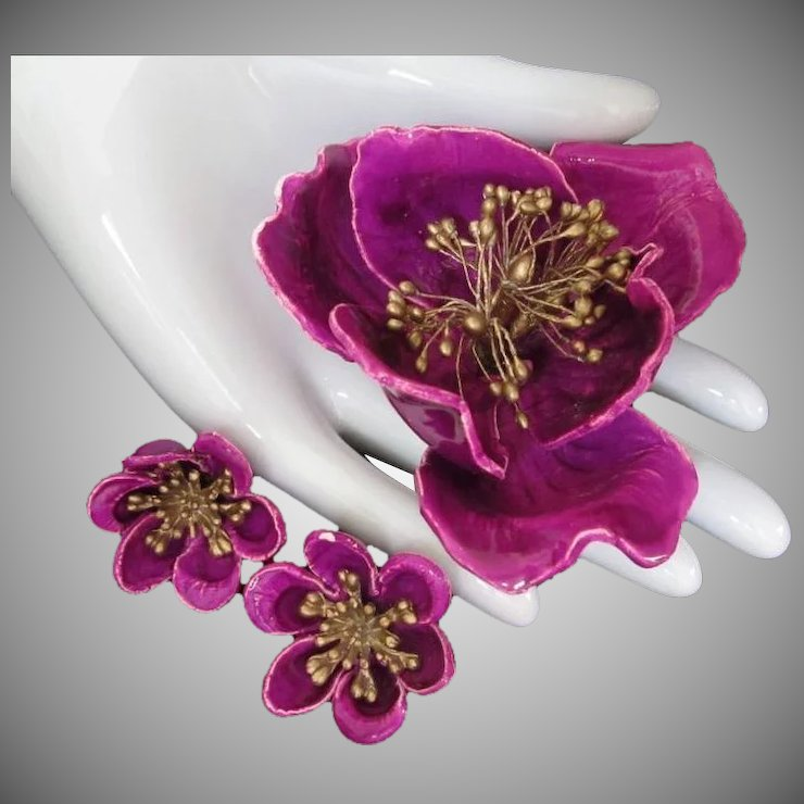 Magenta paper mache flower brooch and earring set sarafinas magenta paper mache flower brooch and earring set mightylinksfo