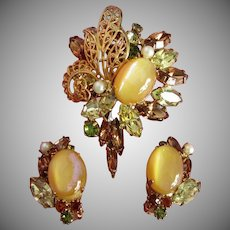 Stunning Hobe Set of Rhinestone Brooch, Earrings ~ REDUCED