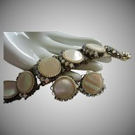 Mother of Pearl, AB Rhinestone Bracelet and Earrings Set ~ REDUCED!