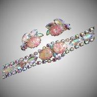 Pink Rhinestones and Foil Cabochon Bracelet, Earrings Set