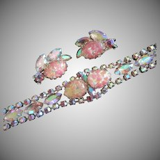 Pink Rhinestones and Foil Cabochon Bracelet, Earrings Set