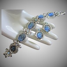 Coro Iridescent Blue Cut Glass Cabochons & AB Rhinestone Flowers Set, Bracelet and Earrings