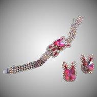 Heliotrope Rivoli and AB Rhinestone Bracelet, Earrings Set