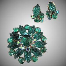 Emerald Green Lava Rock Glass and Rhinestone Pin Earrings Set