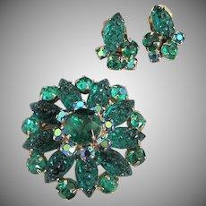 Emerald Green Lava Rock Glass and Rhinestone Pin Earrings Set