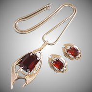 Sarah Coventry Topaz Rhinestone, Gold Tone Necklace, Earrings Set