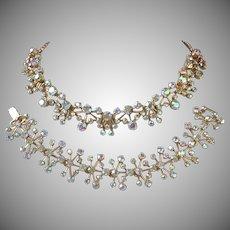 Brilliant Yellow-Pink AB Rhinestone Bracelet, Necklace Set