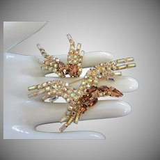 Elegant Vintage Bird in Flight Rhinestone Pin Brooch, Earrings Set ~ REDUCED!