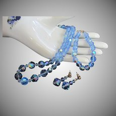 Light Blue AB Crystals Necklace, Bracelet and Pierced Earrings Set