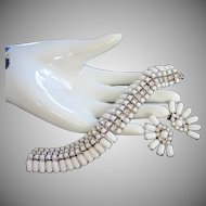Vintage Kramer White Milk Glass and Rhinestone Bracelet Earrings Set