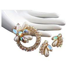 Juliana Vintage Rhinestone Flower Pin Brooch and Earrings Set
