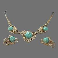 Final Markdown - Seafoam Green Lucite Flowers with Rhinestones Necklace Earrings Set