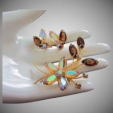 Juliana Topaz Rhinestone Flower Pin, Earrings Set