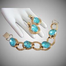Aqua Rhinestone Gold Tone Bracelet and Earrings Set