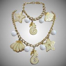 Napier Nautical Seaside Enamel Charm Bracelet and Necklace Set