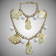 Napier Nautical Theme Enamel Charm Bracelet and Necklace Set
