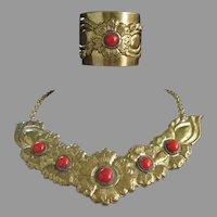 Final Markdown - Bold Brass Necklace and Cuff Bracelet Vintage Set, Faux Carnelian