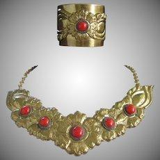 Bold Brass Necklace and Cuff Bracelet Vintage Set, Faux Carnelian