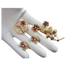 Krementz Two Tone Gold Gilt Flowers Necklace Pin and Earrings Set