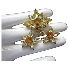 Petite Citrine and Topaz Rhinestone Pin and Earrings Set