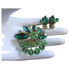Emerald and Peridot Rhinestones and Crystals Brooch Pin Earrings Set