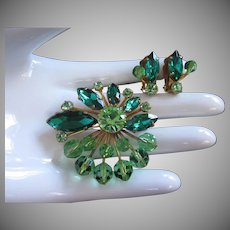 Emerald and Peridot Rhinestones and Crystals Brooch Pin Earrings Set