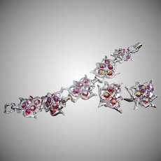 Sarah Coventry Rhinestone and Silvertone Leaves Bracelet Earrings Set