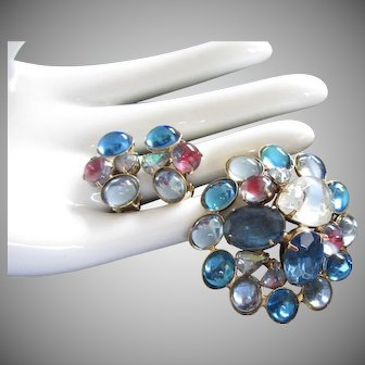 Sapphire and Berry Colored Rhinestone Pin Earrings Set
