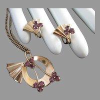 Petite Vermeil and Amethyst Rhinestone Pendant Necklace Earrings Set