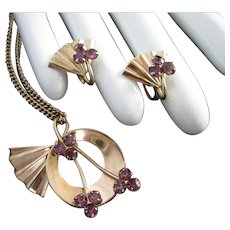 Petite Vermeil and Amethyst Rhinestone Pendant Necklace Earrings Set
