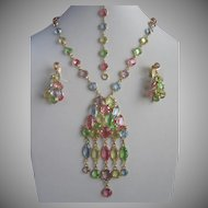 Pastel Colored Crystals Vintage Necklace Bracelet and Earrings Set