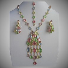 Pastel Colored Crystals Necklace Bracelet and Earrings Set, Springtime Parure