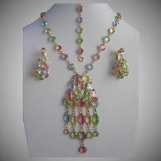 Pastel Colored Crystals Necklace Bracelet and Earrings Set, Springtime Parure
