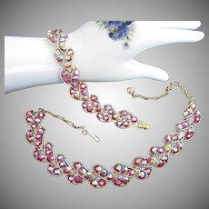 Radiant Aurora Borealis Necklace and Bracelet Vintage Set