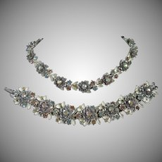 BSK Enamel Flowers and Rhinestone Bracelet and Necklace Set