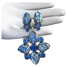 Blue Crackle Stones and Rhinestones Pin Brooch and Earrings Set