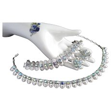 Coro Blue Aurora Borealis Silver Tone Necklace Bracelet and Earrings Set