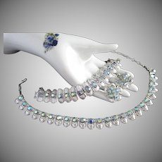 Coro Blue Aurora Borealis Silver Tone Necklace Bracelet and Earrings Set