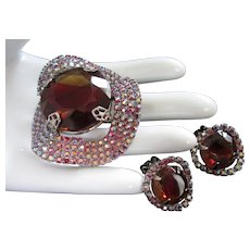 Final Markdown - Wavy Cranberry Stones with Raspberry AB Rhinestones Pin Brooch and Earrings Set